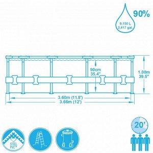 Каркасный бассейн +фильтр-насосос + лестницей.