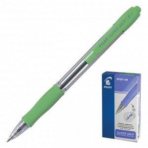 Ручка шариковая Pilot Super Grip 0,7мм, резиновый упор, светло-зеленый корпус, стержень синий