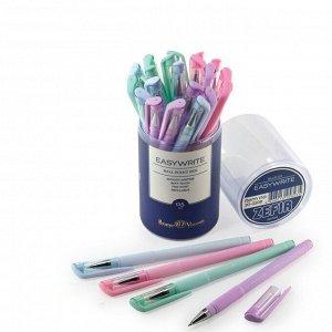 Ручка шариковая EasyWrite Zefir, узел 0.5 мм, синие чернила, матовый корпус Silk Touch, МИКС