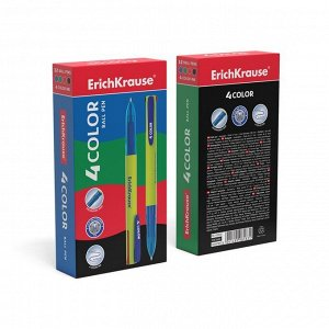 Ручка шариковая автоматическая 4-х цветная Erich Krause 4 COLOR, узел 0.7 мм, чернила: синие, чёрные, красные, зелёные