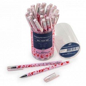 Ручка шариковая HappyWrite «Розовые сердца», узел 0.5 мм, синие чернила, матовый корпус Silk Touch