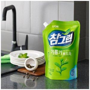 """LION Средство для мытья посуды, овощей и фруктов """"CHAMGREEN"""" Зеленый чай, мягкая упаковка"""