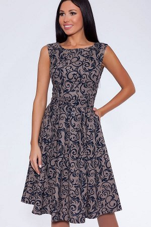 Платье (Цвет: Серо-бежевый/синий) 684-0162
