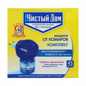 Комплект от комаров Чистый дом 45 ночей, без запаха, фумигатор универсальный + жидкость