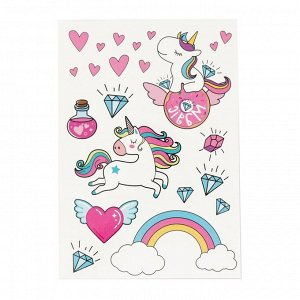 Наклейки?тату Rainbow Unicorns, 14 ? 21 см