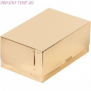 Коробка для торта, пирожных 235х160х100 серебро /50/