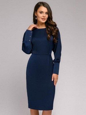 Платье темно-синего цвета с длинными рукавами