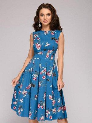 Платье цвета морской волны длины миди с цветочным принтом без рукавов