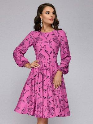Платье цвета фуксии длины мини с принтом и пышными рукавами
