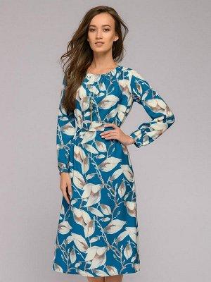 Платье цвета морской волны длины миди с крупным принтом и пышными рукавами