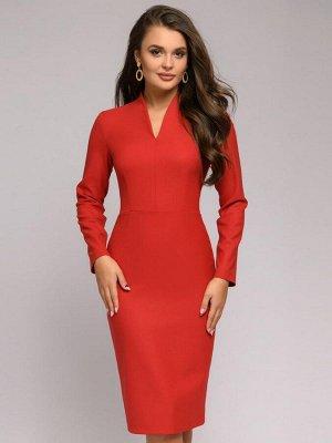 Платье красное длины миди с длинными рукавами