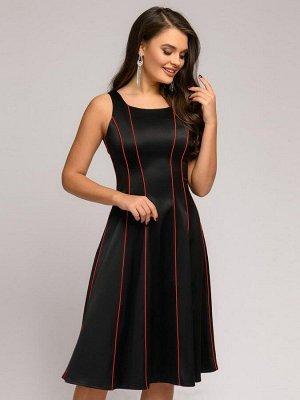 Платье черное длины миди без рукавов