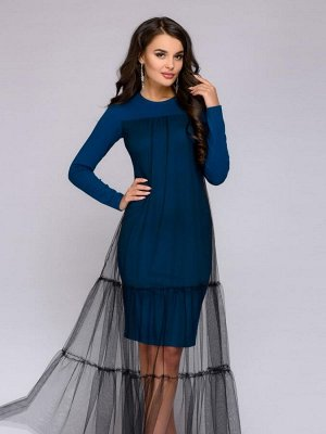 Платье цвета морской волны с сеткой и длинными рукавами