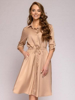 Платье бежевое длины миди с отложным воротником и длинными рукавами