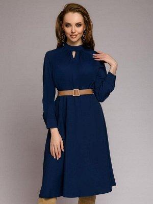 Платье синее длины миди с поясом и оригинальным воротом
