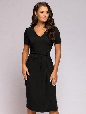 Платье черное длины миди с драпировкой на талии и короткими рукавами