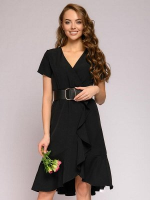 Платье черное длины миди с запахом и воланом по подолу