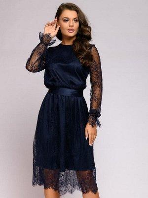 Платье темно-синее кружевное длины миди с длинными рукавами