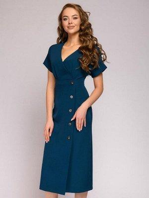 """Платье цвета морской волны длины миди с рукавами """"летучая мышь"""" и декоративными пуговицами"""