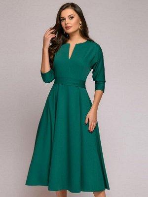 """Платье зеленое длины миди с рукавами """"летучая мышь"""""""