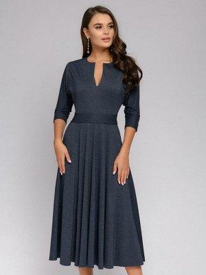 """Платье синее длины миди с меланжевым эффектом и рукавами """"летучая мышь"""""""