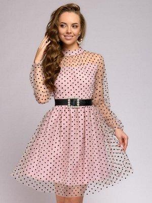 Платье цвета пыльной розы в горошек длины мини с поясом