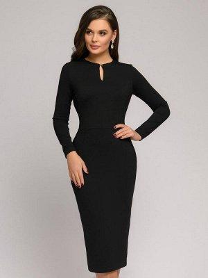 Платье черное длины миди с длинными рукавами
