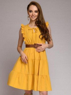 Платье желтое с оборками на плечах