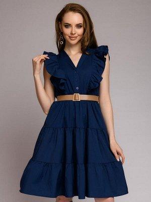 Платье синее на пуговицах с оборками на плечах