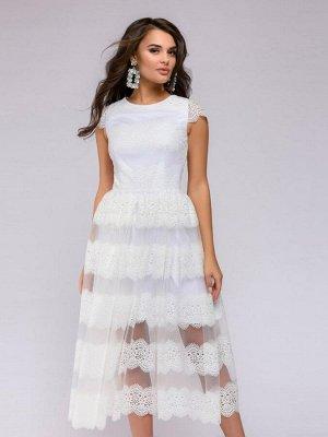 Платье длины миди белое с кружевом