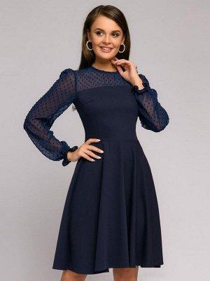 Платье темно-синее длины мини с фатиновым верхом и пышными рукавами