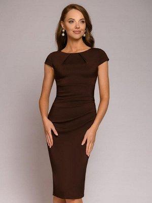 Платье-футляр темно-коричневое