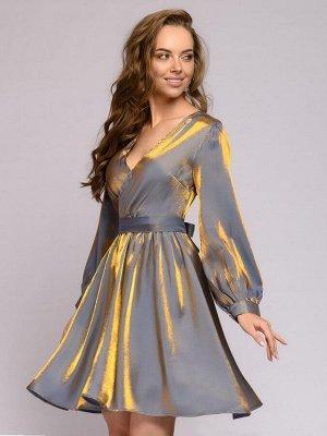 Платье голубое с голографическим эффектом и длинными рукавами