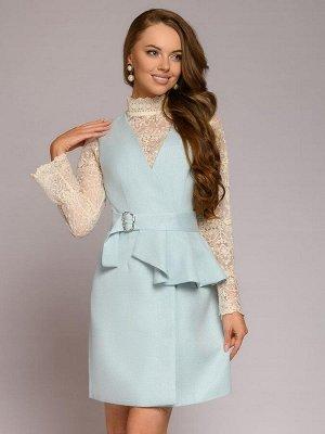 Платье-жилет голубое длины мини
