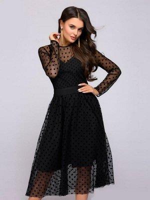 Платье черное длины миди с накидкой