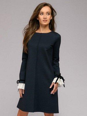 Платье темно-синее длины мини с меланжевым эффектом и длинными рукавами
