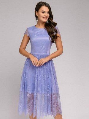 Платье лавандового цвета длины миди с кружевом и короткими рукавами