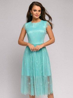 Платье мятного цвета длины миди с кружевом и короткими рукавами