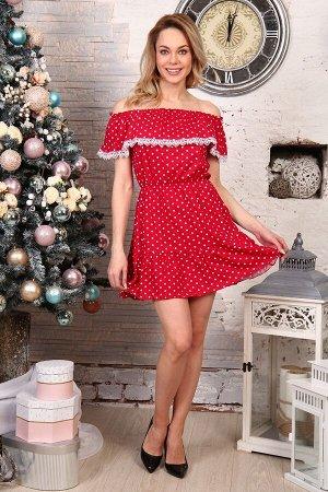 Д463 Платье Азалия (Горох на красном)