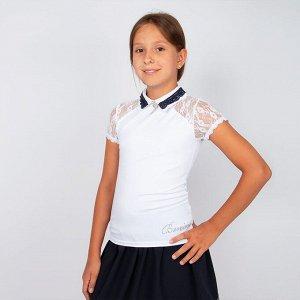 Блузка Benini белого цвета короткий рукав для девочки