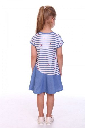 Платье Ткань: Кулирка Состав: Хлопок 100%.  Просто и изящно. Платье со спущенной линией плеча и асимметричной юбочкой. По линии притачивания пришит бантик. Горловина и проймы оформлены узкой окантовко