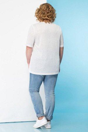 Топ Топ Linia-L Б-1647  Сезон: Весна-Лето Рост: 164  Повседневная трикотажная блузка выполненная из двух видов ткани (гладкой и текстурированной). Блузка среднего объёма. Рукав втачной короткий. Выре