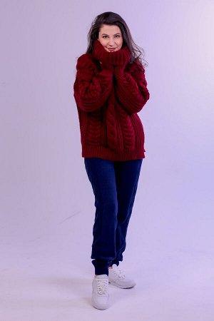 Свитер женский крупной вязки с высоким воротником. s-021