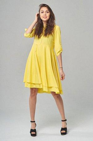 Платье Нежное, воздушное платье из мягкой и пластичной плательной ткани. Платье прилегающего силуэта, с втачным рукавом и центральной застежкой на пуговицы. Юбка отрезная и состоит из 2 слоев. Воротни