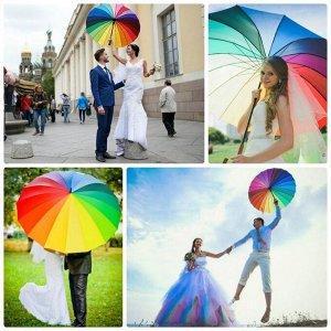 Зонт-трость радуга, 16 спиц - диаметр 116 см