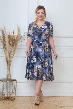 Платье Анисия №1 .Цвет:синий/цветы