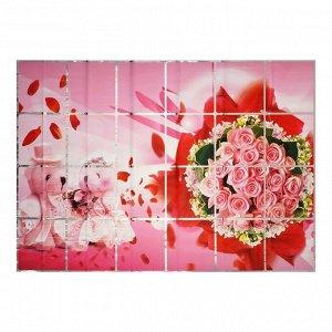 """Наклейка на кафельную плитку """"Букет роз и мишки"""" 90х60 см"""