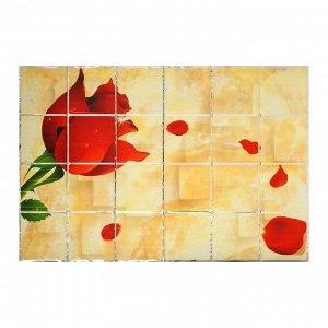"Наклейка на кафельную плитку ""Роза и лепестки"" 90х60 см"
