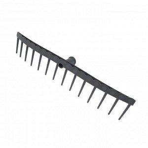 Грабли прямые, прямой зубец, 14 зубцов, пластиковые, тулейка 28 мм, без черенка