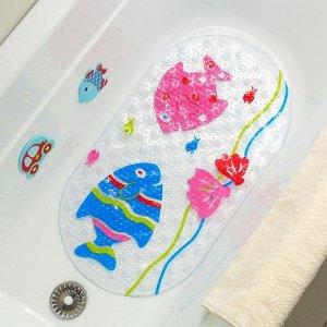Коврик для ванны Доляна «Рыбки», 38?68 см